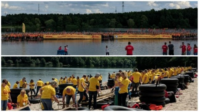 A German company broke a Guinness record by fitting 956 people on a raft at once. Photo courtesy of Guinness World Records
