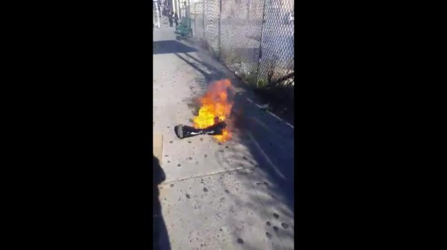 This hoverboard caught fire on a Los Angeles sidewalk. Delvon Simmons/Facebook video screenshot