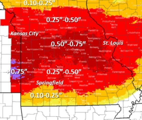 The map of Missouri shows the expected amount of ice over the weekend. The state activated the National Guard and advised residents to stay indoors. Image courtesy of National Weather Service