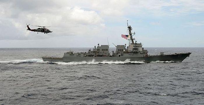 U S  Navy warship sails past contested South China Sea