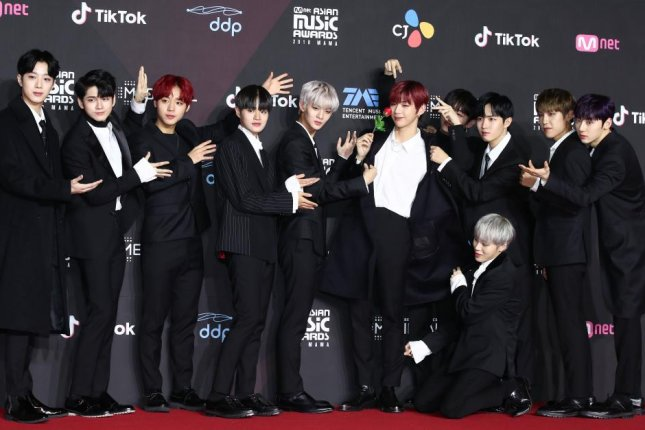 South Korean boy group Wanna One poses for a photo on the red carpet at the 2018 Mnet Asian Music Awards Premiere in Seoul on Dec. 10. Photo by Yonhap
