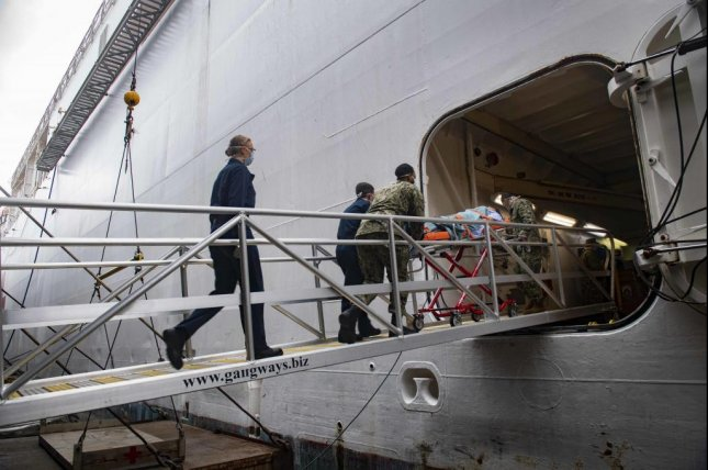 Sailors practice patient transfer from the pier onto the hospital ship USNS Comfort as they prepare to admit patients in support of the nation's COVID-19 response efforts. Photo by Sara Eshleman/U.S. Navy