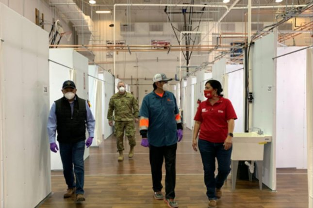 The U.S. Army Corps of Engineers converted a high school in Shiprock, N.M., to a 40-bed alternative care site for the Navajo Nation to care for COVID-19 patients released from intensive care. Photo courtesy of the Navajo Nation