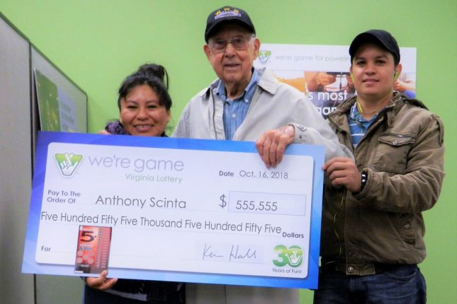 A retired Virginia man played the lottery for the first time and ended up winning $555,555. Photo courtesy of the Virginia Lottery