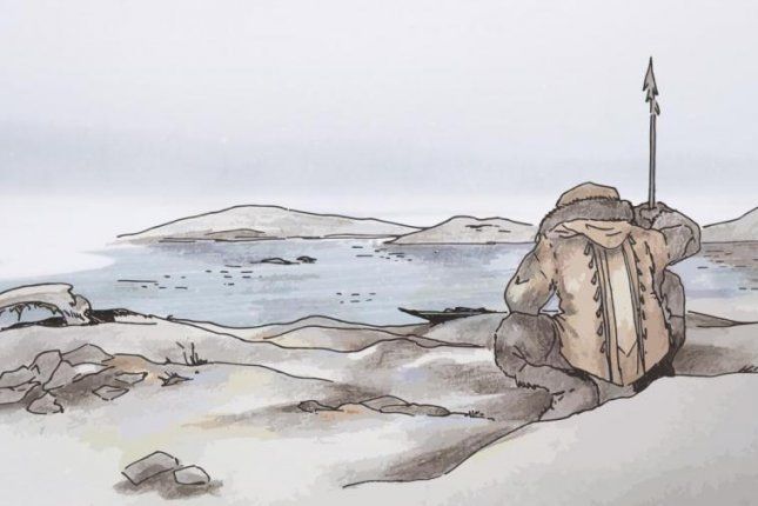 An artistic rendering pictures an ancient fisherman from Bolshoy Oleni Ostrov, an island along modern day Russia's Kola Peninsula. Photo by Kerttu Majander