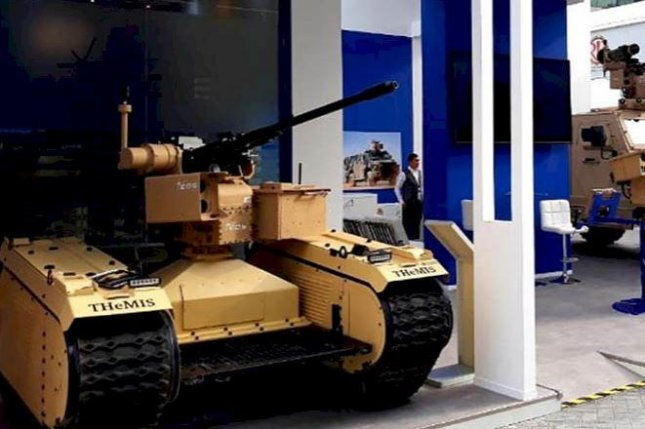 An Estonian-made TheMIS unmanned ground vehicle on display at a recent trade show. Photo courtesy of Milrem Robotics