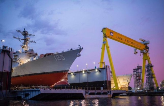The future Jack H. Lucas, an Arleigh Burke-class guided missile destroyer was successfully launched Friday at Huntington Ingalls Industries' Ingalls Shipbuilding division in Mississippi. Photo courtesy of Huntington Ingalls Industries