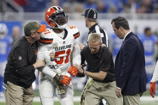Cleveland Browns linebacker Jamie Collins (51) will miss the remainder of the season with a torn MCL in his right knee, the team announced Monday. Photo courtesy of Cleveland Browns/Twitter