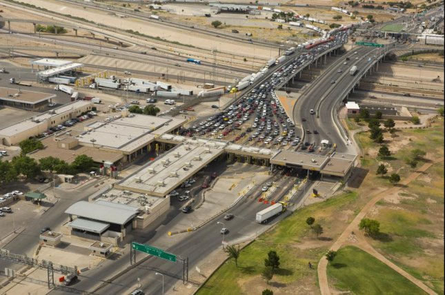 Traffic from Ciudad Juárez, Mexico, stopped for U.S. customs and immigration inspections at the Bridge of the Americas in El Paso, Texas. Photo by James Tourtellotte/U.S. Customs and Border Protection