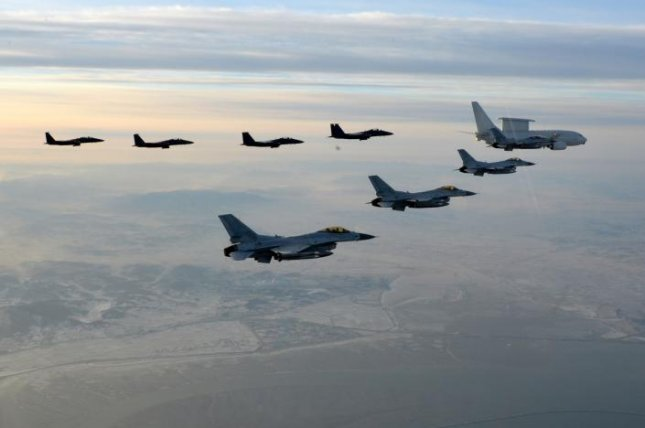 South Korea scrambled F-15K fighters this week after a Chinese plane trespassed Korean airspace. File Photo by Yonhap/EPA