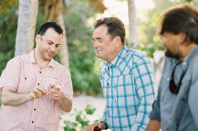 Jimmy Kimmel and Huey Lewis in the fly-fishing series Buccaneers & Bones. Outdoor Channel
