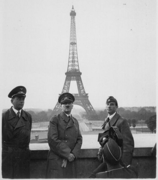 Adolf Hitler visits German-occupied Paris with architect Albert Speer (left) and artist Arno Breker (right), June 23, 1940. Two historians claim to have found Hitler's personal medical records that reveal the fascist dictator had a malformed penis due to a condition called hypospadias. National Archives/UPI