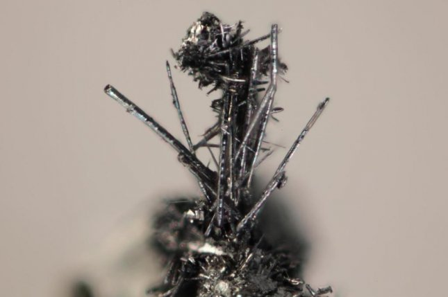 The newly discovered mineral merelaniite features an intricate structure of shiny, spindle-like whiskers. It is named for the mining region in Tanzania where it was found. Photo by Michigan Tech/John Jaszczak