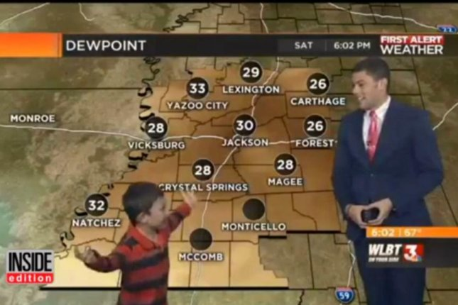 A young hero interrupts a Mississippi weather forecast to warn the people of oncoming farts and toots. Screenshot: Inside Edition