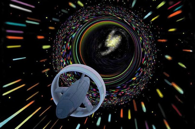 A depiction of space travel by wormhole. Photo by Les Bossinas/NASA