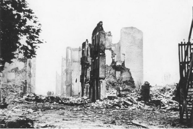 General view of the ruins of the Spanish town of Guernica. On April 26, 1937, during the Spanish Civil War, German-made planes destroyed the Basque town of Guernica, Spain. Photo via German Federal Archive