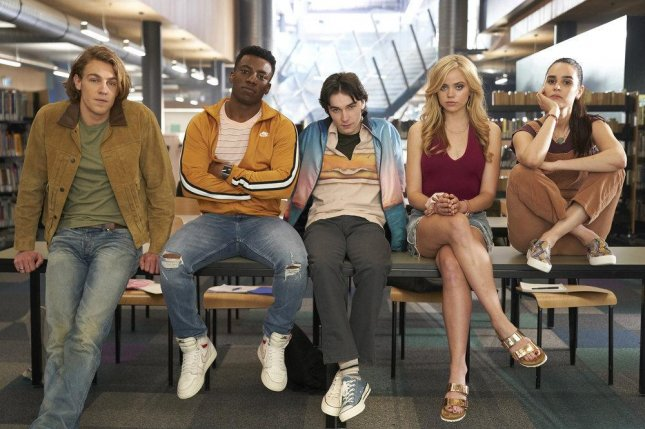 Detention turns to murder for, left to right, Cooper van Grootel, Chibuikem Uche, Mark McKenna, Annalisa Cochrane and Marianly Tejada. Photo courtesy of Peacock