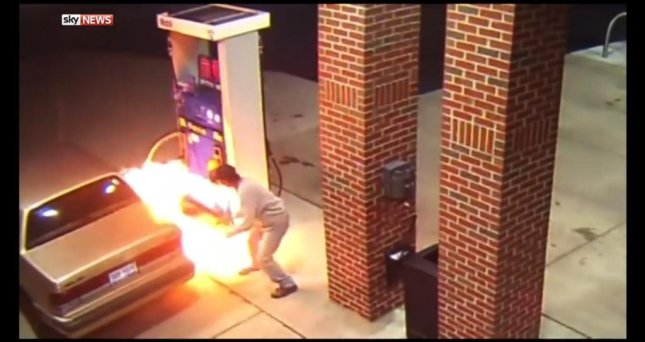 A man at a Mobile station in Center Line, Mich., ignited a gas pump while trying to use his lighter to kill a spider. Sky News video screenshot