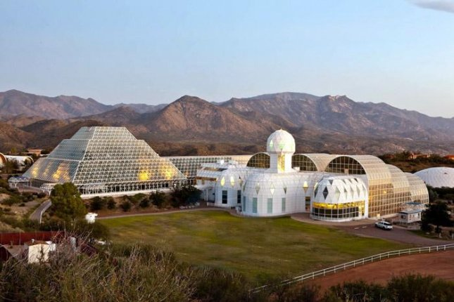 Biosphere 2 sits on a 40-acre campus in in Oracle, Arizona. Photo courtesy Johndedios