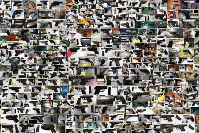 A snapshot of the guns that were found and seized at U.S. airports in 2016. The TSA said Thursday that a total of 3,391 firearms were found in carry-on luggage last year -- and the vast majority, 83 percent, were loaded. Photo courtesy U.S. Transportation Security Administration