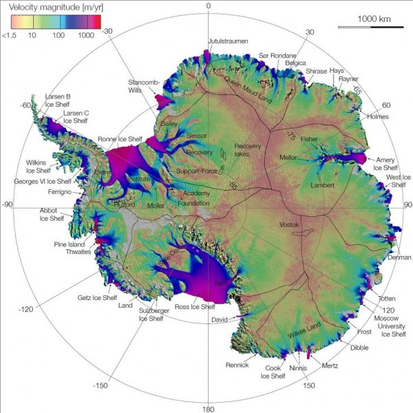 Map shows all ice movement in antarctica upi first complete map of the speed and direction of ice flow in antarctica derived from radar interferometric data from the japan aerospace exploration gumiabroncs