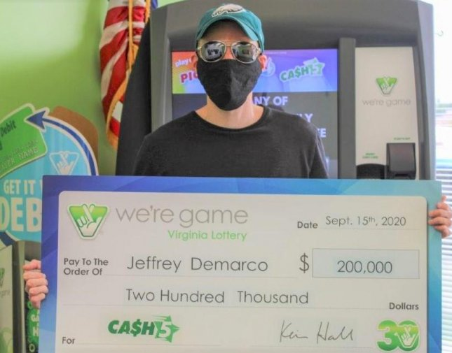 Jeffrey Demarco of Vienna, Va., won two $100,000 jackpots when he entered a Cash 5 drawing with two identical tickets. Photo courtesy of the Virginia Lottery