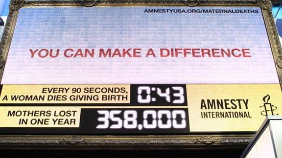 Amnesty International's Maternal Death Clock in New York City. (WEN/Courtesy Amnesty International)