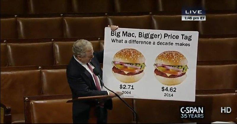 Rep. Chris Van Hollen and his Big Mac charts. (C-Span)