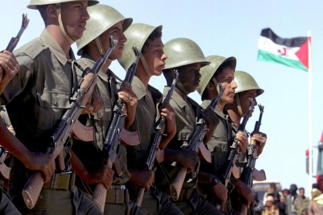 Sahrawi soldiers march in a parade in Tifariti in the de facto sovereign state of Western Sahara. File Photo by Mohamed Messara/EPA-EFE