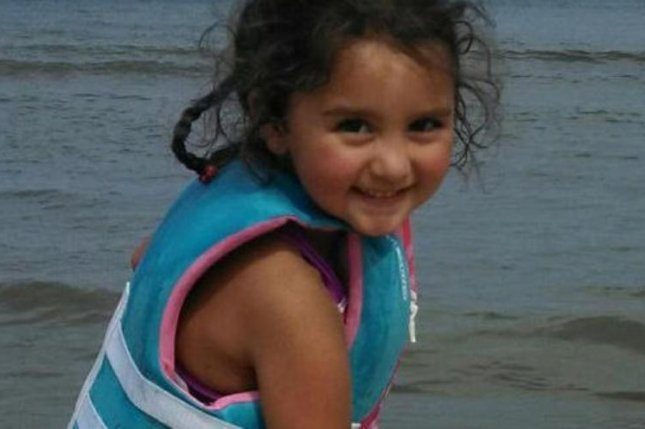 Laylah Petersen, 5, was shot and killed as she sat in her grandfather's lap in their living room. UPI/Handout
