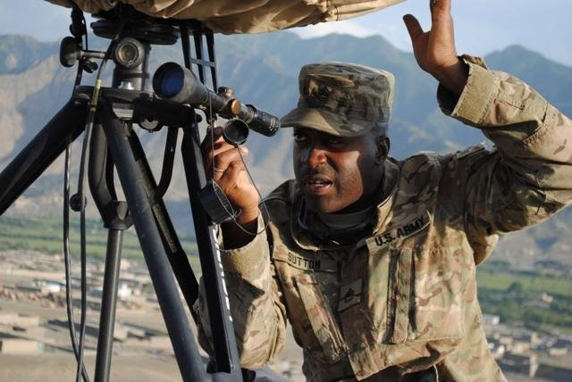 A U.S. Army soldier adjusts a counter-mortar radar. U.S. Army photo/Spc. John A. Martinez