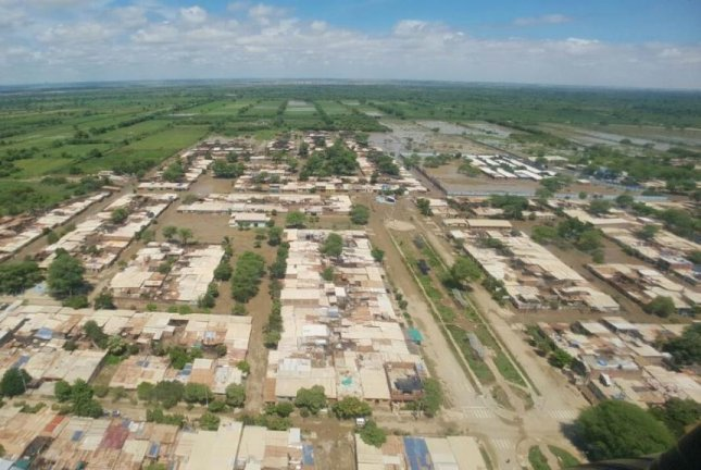 Aerial images show the damage sustained in Peru's Peru's town of Catacaos in the Piura Region after the Piura river burst its banks earlier this week. Peruvian officials report at least 97 people have died since the start of seasonal rains in December. Photo courtesy Presidency of Peru