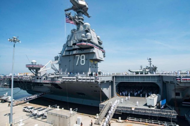 The first-in-class aircraft carrier USS Gerald R. Ford was commissioned in July 2017. Photo by MSC2 Matthew J. Sneeringen/U.S. Navy/UPi