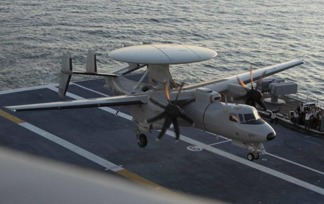An E-2D Advanced Hawkeye assigned to Air Test and Evaluation Squadron 20 lands aboard USS Gerald R. Ford's flight deck for an independent steaming exercise. Photo by Indra Beaufort/U.S. Navy