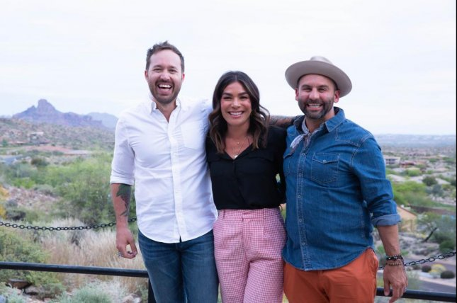 Restaurants on the Edge hosts, from left to right, Dennis The Prescott, Karin Bohn and Nick Liberato. Liberato said the hosts have the camaraderie of a team like Queer Eye. Photo courtesy of Marblemedia Inc. /Restaurants on the Edge