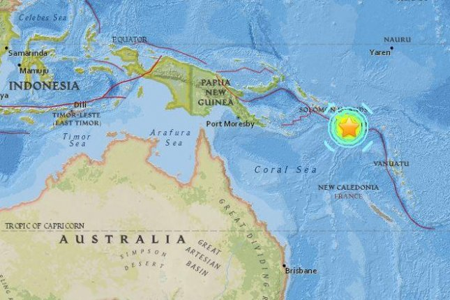 An earthquake with a magnitude of 7.7 hit off the Solomon Islands on Friday morning. Map by U.S. Geological Survey