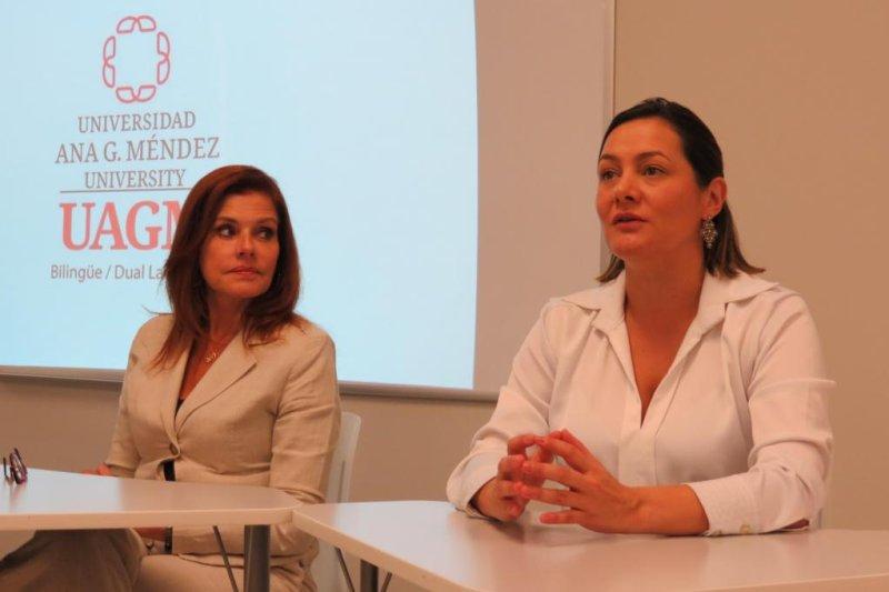 Peruvian Vice President Mercedes Aráoz (L) and Bogota Councilwoman Angela Garzón speak on women's leadership roles in Latin America on Friday at Ana. G. Mendez University in Miami. Photo by Karina Brocks/UPI