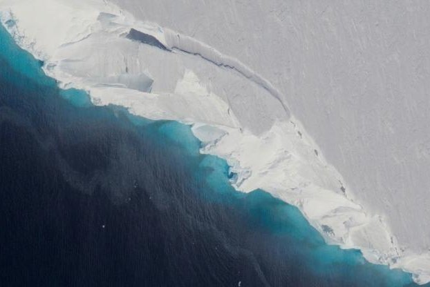 Thwaites Glacier is one of five Antarctic glaciers that has doubled its rate of ice loss in the last six years. Photo by NASA/OIB/Jeremy Harbeck