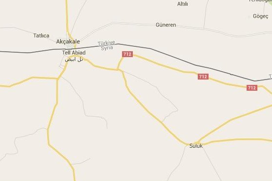 Kurdish forces in Syria, known as the YPG, claim to have captured dozens of villages from IS forces between Suluk, which it has besieged, and Tell Abiad, where IS fighters were forced to blow up two bridges during a rapid withdrawal. Suluk is about 50 miles north of Raqqa, which is considered the IS capital. Image from Google Maps.