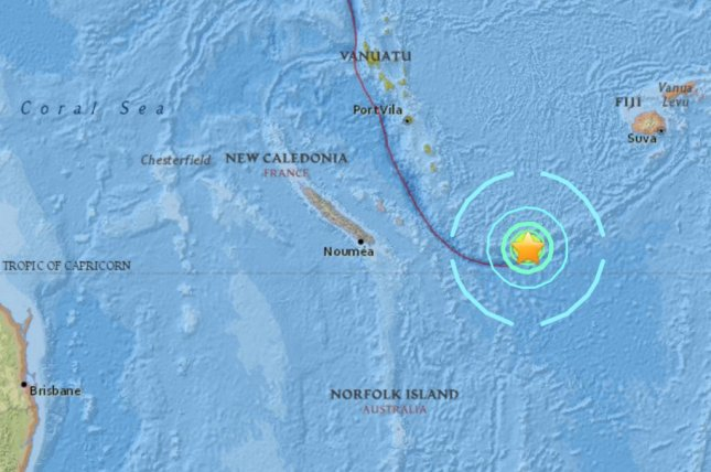 A 7.2 earthquake struck off the coasts of New Caledonia, Vanautu and Fiji on Friday, the US Geological Survey said. A tsunami warning was eventually canceled for the region. Screen shot: US Geological Survey