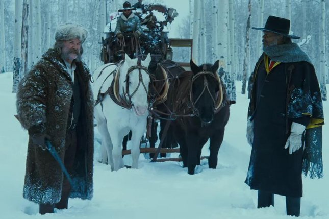 Kurt Russell (left) with Samuel L. Jackson in the newly released trailer for Quentin Tarantino's upcoming film, The Hateful Eight. Photo courtesy of The Weinstein Company/Youtube