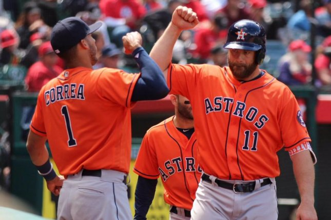 The Astros hit two homers on the way to defeating the Angels 5-3 and extending their AL West lead to 5 1/2 games. Photo courtesy Houston Astros via Twitter.