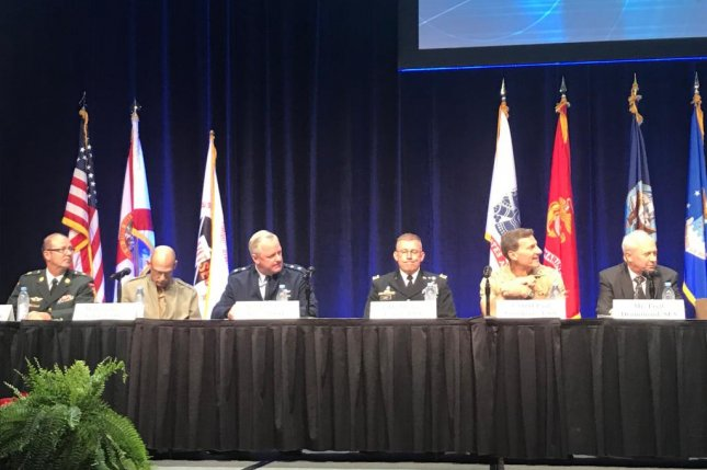 Generals and Admirals discuss budget concerns at the Interservice Industry Training Simulation and Education Conference in Orlando, Fla, on Tuesday. Photo by James LaPorta/UPI