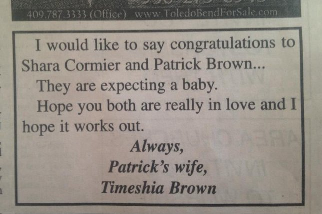 Texas woman calls out apparently cheating husband with newspaper ad