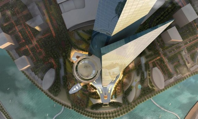 This rendering looking straight down on the Kingdom Tower shows an observation deck on the 157th floor. Photo courtesy Jeddah Economic Company/Adrian Smith and Gordon Gill Architecture