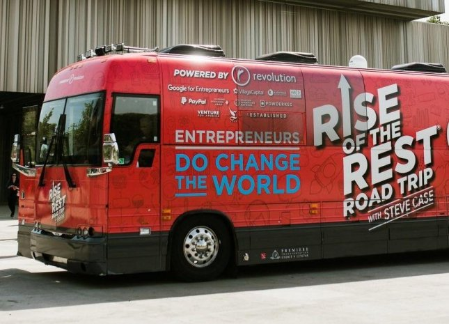 The Rise of the Rest bus is on tour with AOL co-founder Steve Case. Photo courtesy of Revolution investment fund.