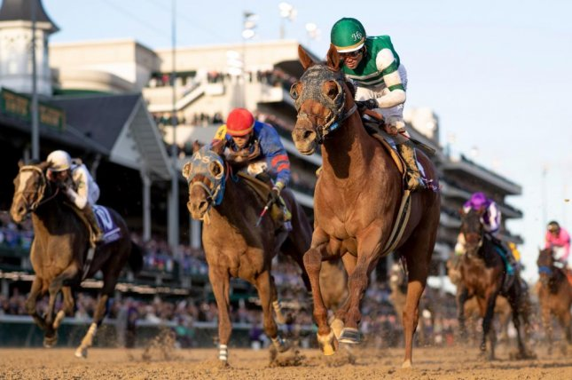 Accelerate, seen winning the 2018 Breeders' Cup Classic, is the favorite for Saturday's $9 million Pegasus World Cup Invitational at Gulfstream Park -- his last race before heading off to stud. (Breeders' Cup photo)