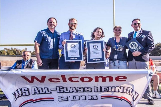 A high school reunion in California that involved members of 41 different graduating classes broke two Guinness World Records. Photo courtesy of Guinness World Records