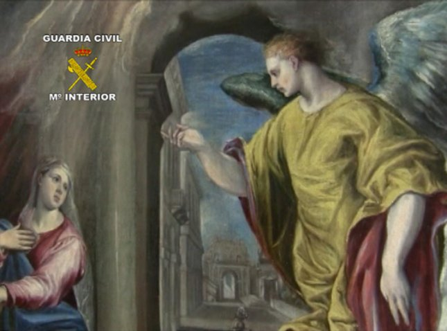 Oil on canvas called The Annunciation of 107 x 97cmt, 1570, the author Domenikos Theotokopoulos (El Greco).