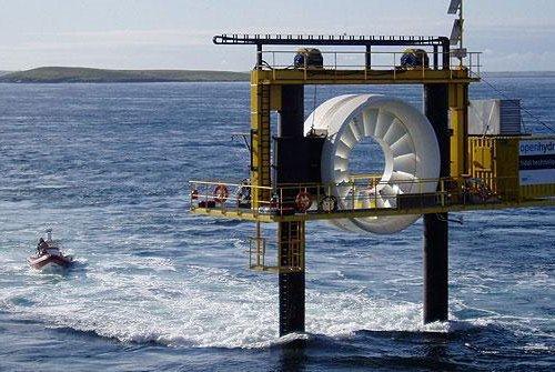One of OpenHydro's turbines is tested before being lowered into the ocean. Photo by OpenHydro/DCNS